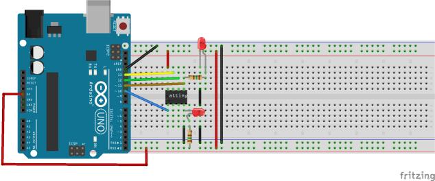 Schéma connexion Arduino vs. ATtigny 13A
