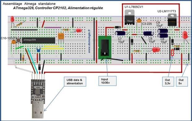 Assemblage ATmega standalone avec intégration du controleur USB et de l'alimentation