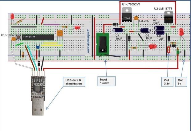 Schéma final Arduino-DIY: Intégration du poly-fusible